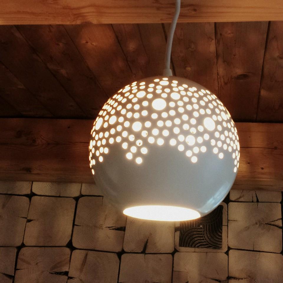 Ball Pendant Lamp White Kamelo Ceramika