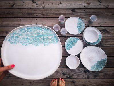 kamelo ceramika naczynia z koronką